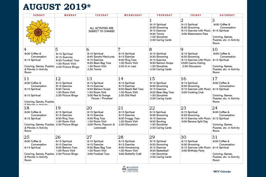 August MCU Activity Calendar