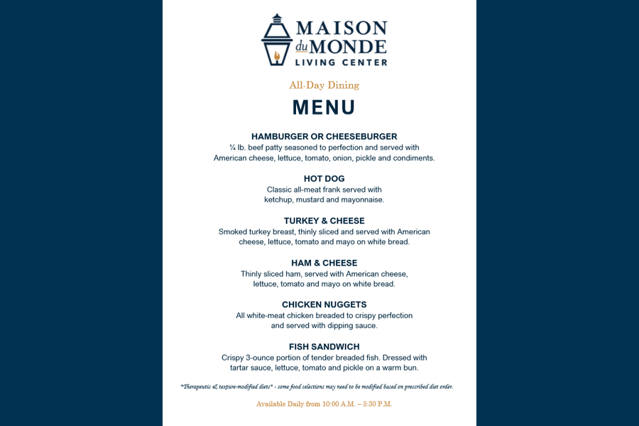February All-Day Dining Menu